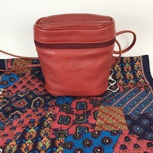 Italian Leather Red Il Bisonte Crossbody Bag